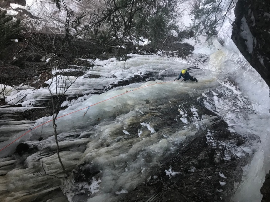 Ice climbing Frankenstein Cliffs