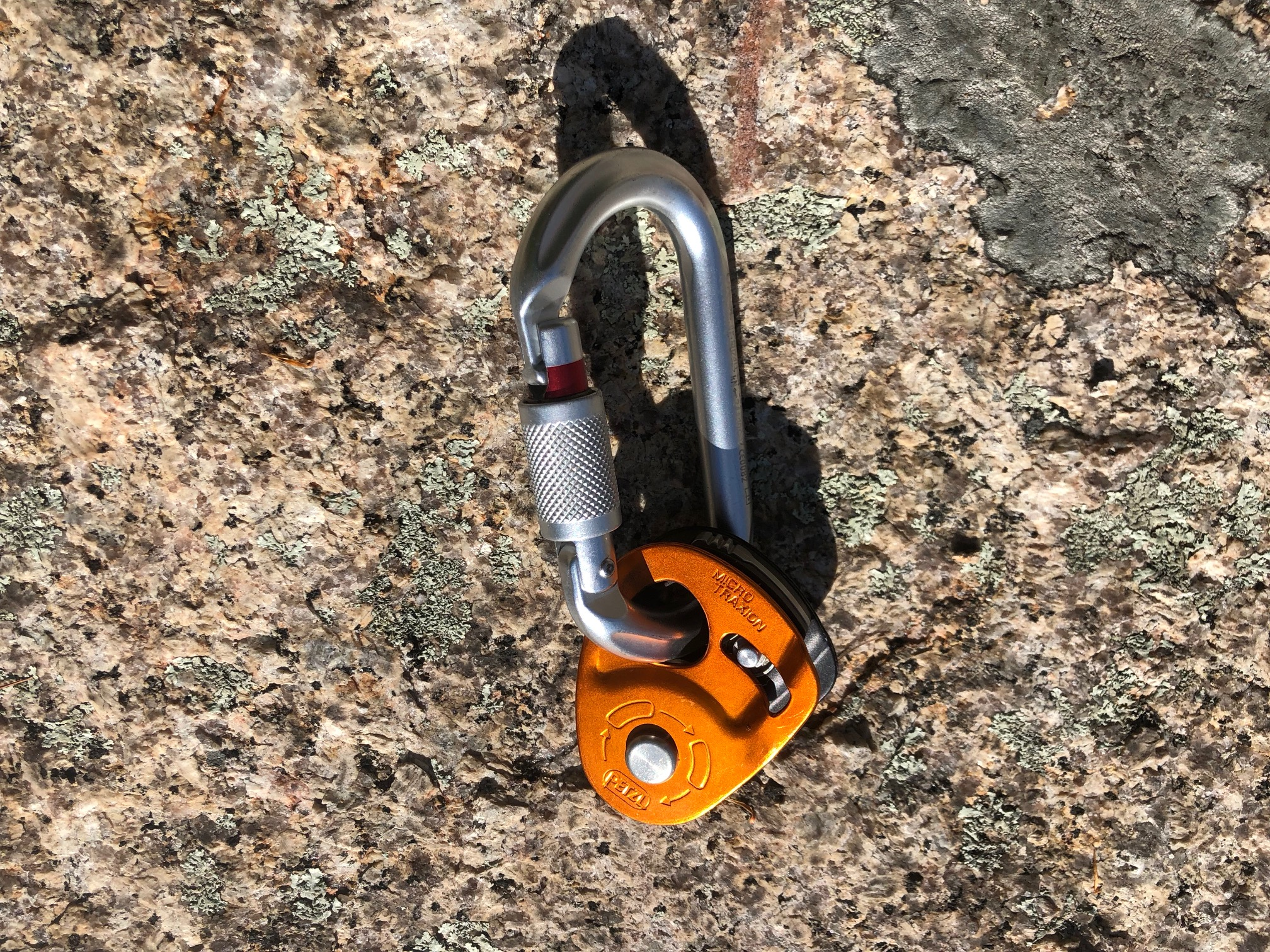 Petzl OK Locking Carabiner and Petzl Micro Traxion Pulley